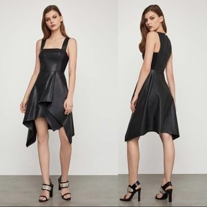 BCBGMAXAZRIA Faux Leather Asymmetric Dress *NWT*